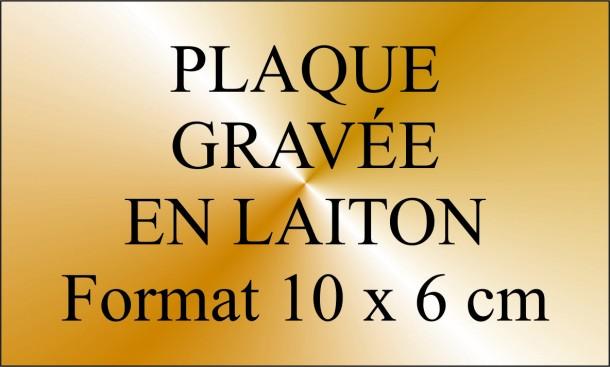 plaque gravée en laiton poli 10 x 6 cm