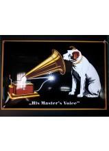 master's voice 60x40cm bombée fabrication au pochoir