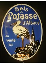 sel de potasse plaque émaillée ovale bombée 40x30cm